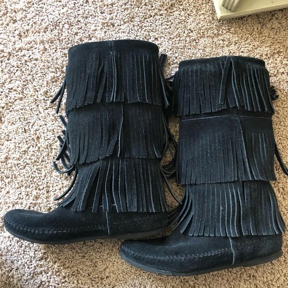 Yall Black Fringe Boots